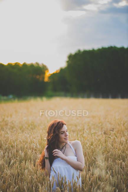 Porträt eines Mädchens mit langen kurvigen roten Haaren, das bei Sonnenuntergang auf einem Roggenfeld posiert — Stockfoto
