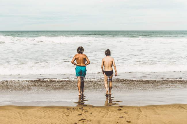 Vue arrière de deux hommes dans des troncs de natation marchant dans l'eau pour nager dans l'océan — Photo de stock
