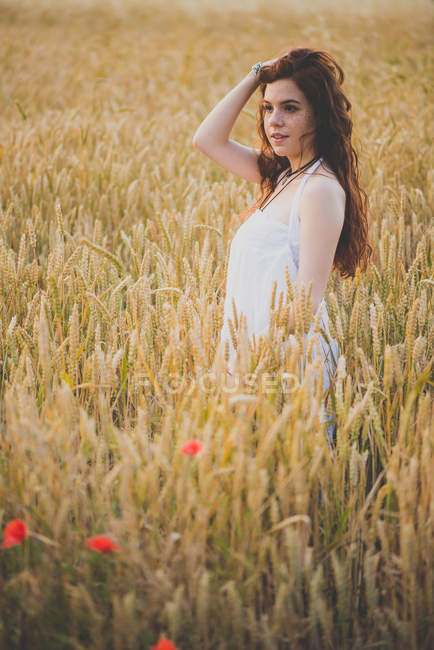 Side view of sensual red haired girl posing on rye field at sunset time — Stock Photo