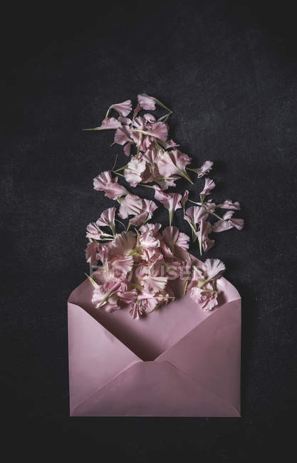 Top view of pink opened envelope with bunch of blooms on stone surface — Stock Photo