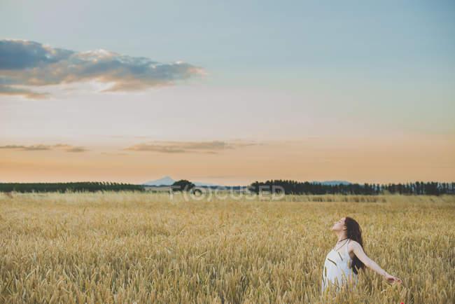 Vista lateral de la chica pelirroja posando con los brazos extendidos en el campo de centeno al atardecer - foto de stock