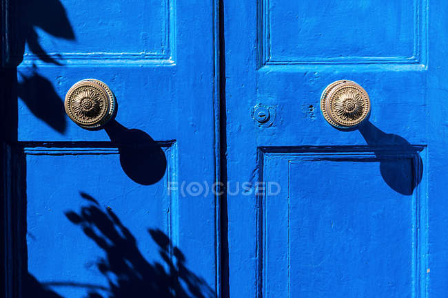 Full frame shot of blue door with handles — Stock Photo