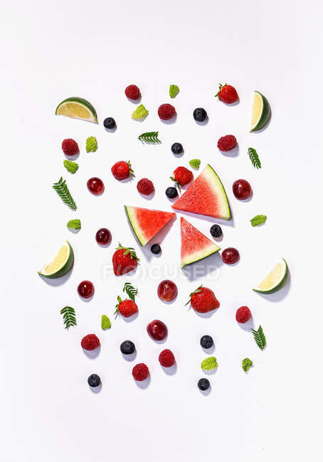 Mix of various fruits pattern — Stock Photo