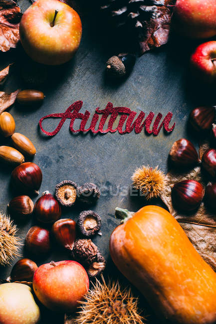 Floral decoration with Autumn inscription — Stock Photo
