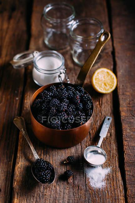 Ожина jam інгрідієнти — стокове фото