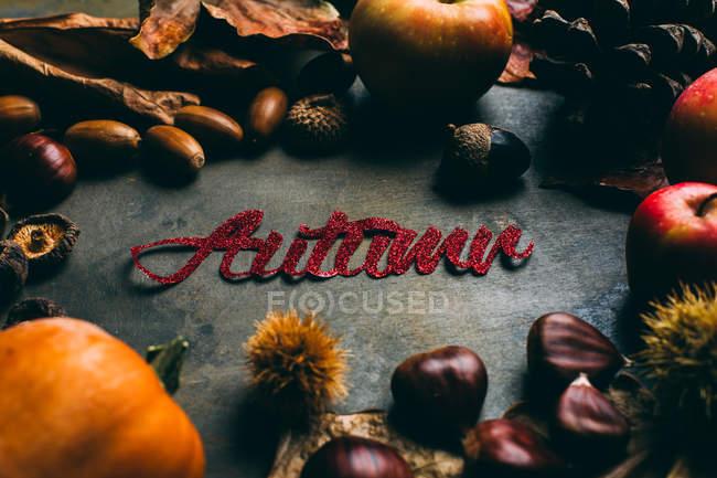 Floral decoration with Autumn inscription — Stock Photo