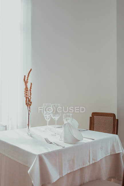 Dried branches in vase on restaurant table — Stock Photo