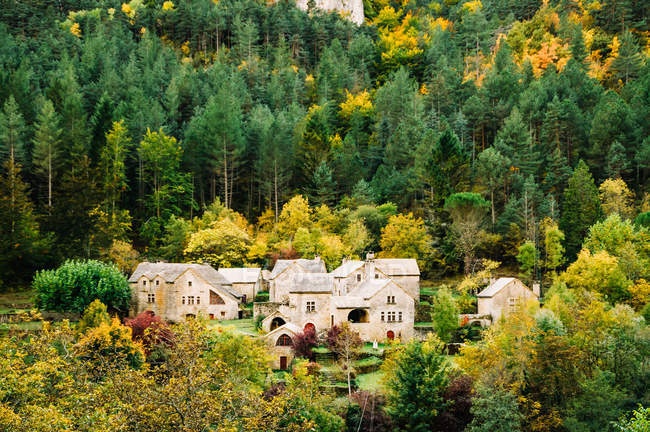 Residential houses in small village placed in autumn forest. — Stock Photo