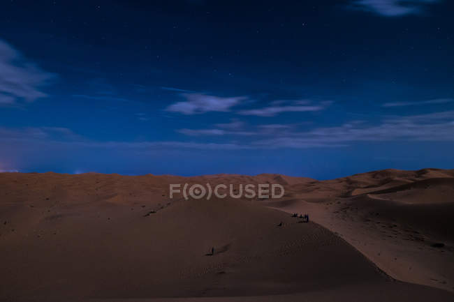 View to empty desert sand landscape in twilight time. — Stock Photo