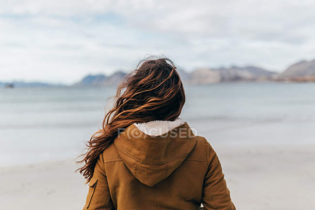Rear view of woman coat admiring view of lake — Stock Photo