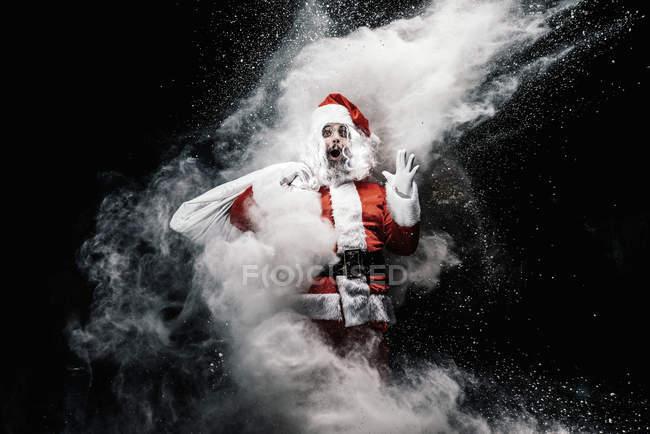 Здивований, Санта-Клауса, туману, снігу бризки — стокове фото
