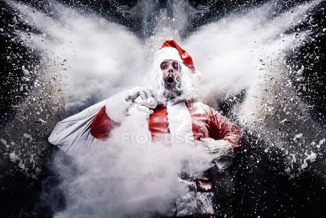 Санта-Клаус в середині сніг вибух — стокове фото