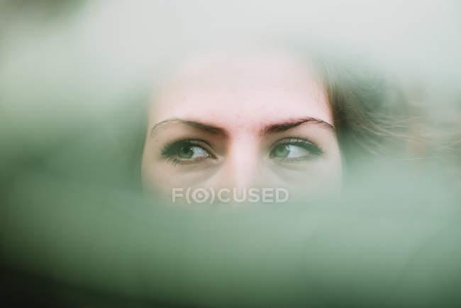 Portrait de w femme aux yeux verts cherche loin dans fissure floue. — Photo de stock