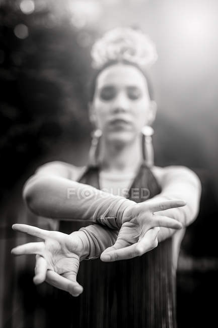 Close up view of female flamenco dancer hands gesture — Stock Photo