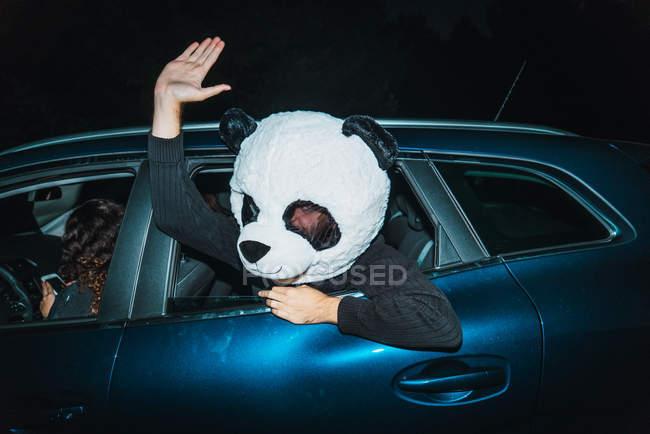 Man wearing panda mask leaning out of car window — Stock Photo
