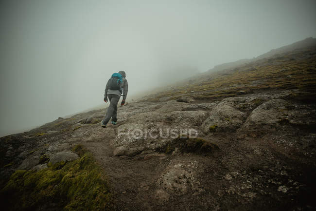 Rear view of man wearing backpack walking up foggy green slope of hill — Stock Photo