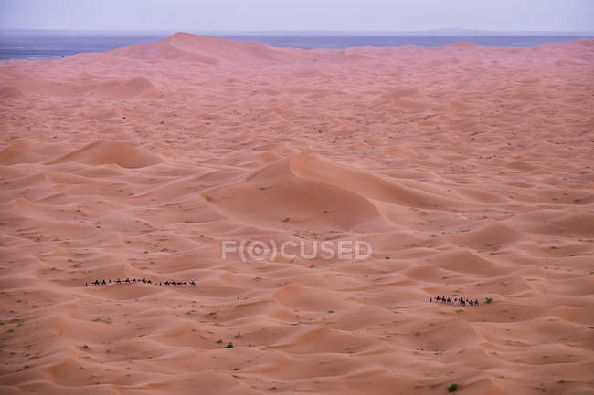 View to empty desert sand and dim sun in twilight time. — Stock Photo