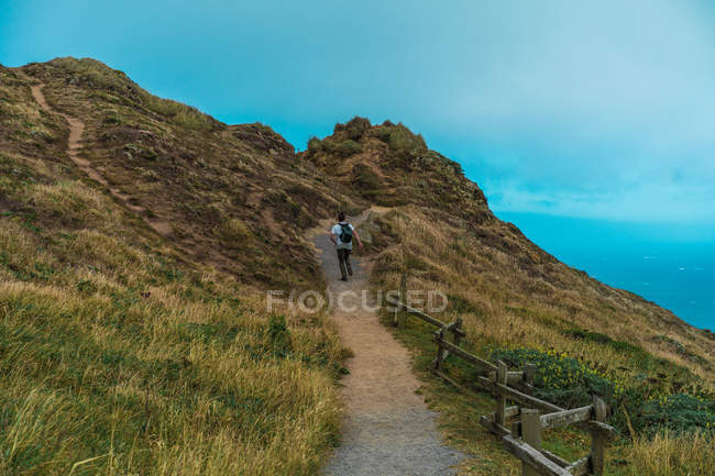 Rückansicht eines Touristen, der auf den Gipfel des Berges rennt. — Stockfoto
