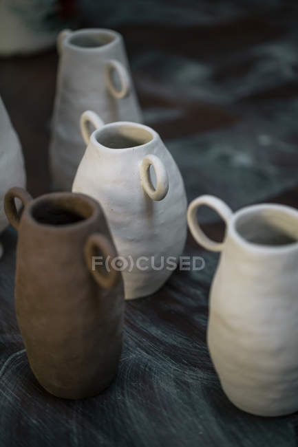Close up view of handcrafted pots — Stock Photo