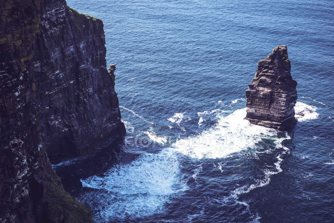 High angle view of  cliffs of Moher in Atlantic ocean — Stock Photo