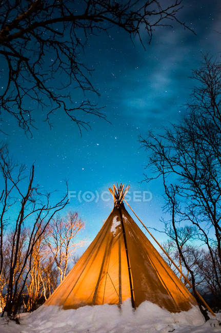 Découvre à tente placée dans forêt d'hiver neigeux dans la nuit. — Photo de stock