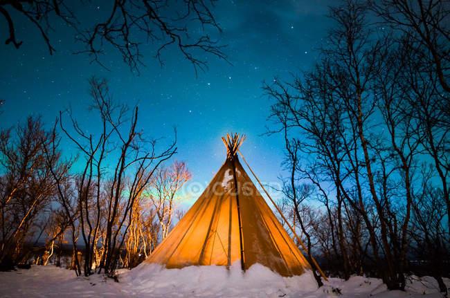 Vue panoramique de tente dans la forêt d'hiver pendant la nuit — Photo de stock