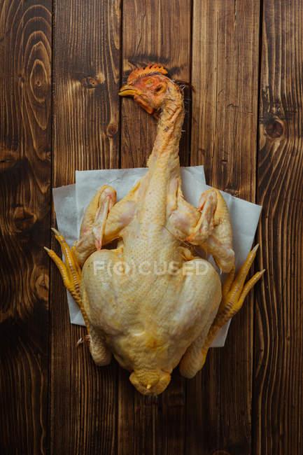 Pollo entero con cabeza - foto de stock