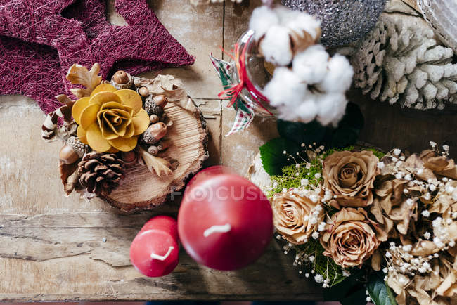 From above view of decorative composition on wooden table — Stock Photo