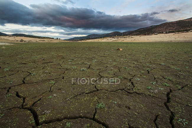 Surface level view of dry riverbed due to drought under tough clouds — Stock Photo