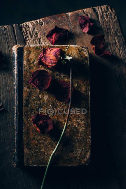 Vista superior da rosa seca no livro velho na mesa de madeira rural — Fotografia de Stock