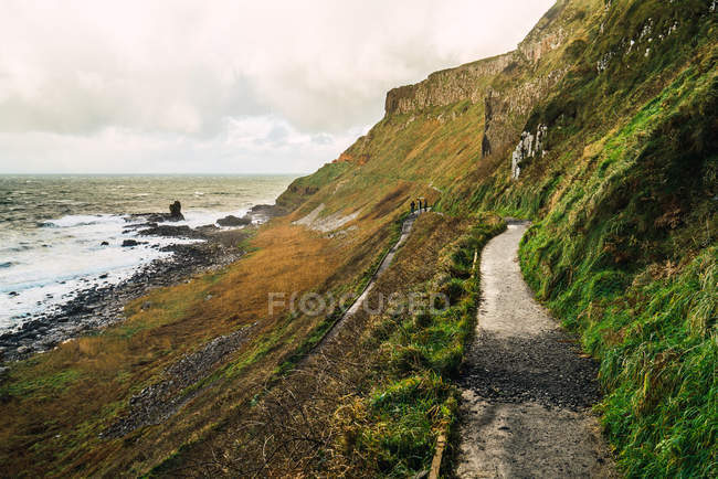 Idyllic view to small road on hill slope at seaside — Stock Photo