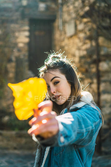Portrait of woman in jacket outstretching hand with bright yellow leaf looking at camera in sunlight. — Stock Photo