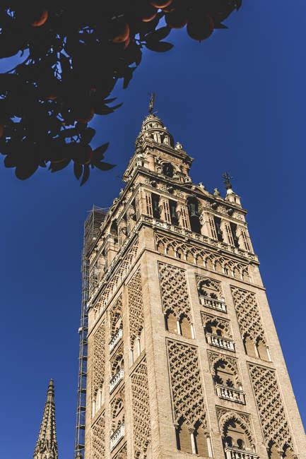Vista dal basso della vecchia torre esterna sopra cielo blu — Foto stock