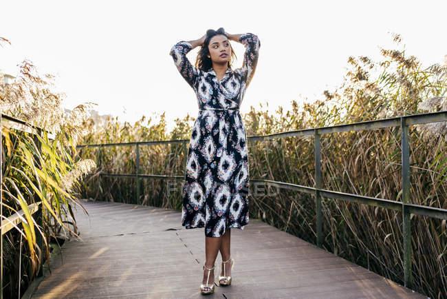 Жінка в гарне плаття позують з підняли руки і, дивлячись геть Парковий міст — стокове фото
