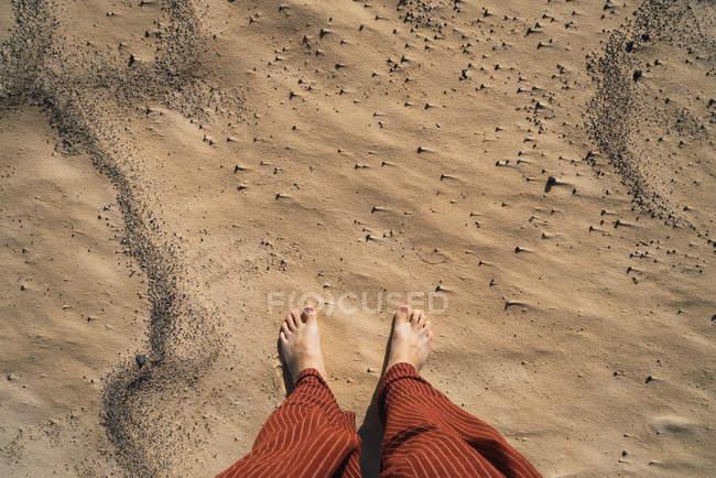 Blick auf barfüßige Reisende, die auf trockenem, heißem Sand der Küste stehen. — Stockfoto