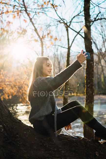 Вид збоку жінка сидить на стовбур дерева і беручи selfie з смартфон в падіння Вудс. — стокове фото