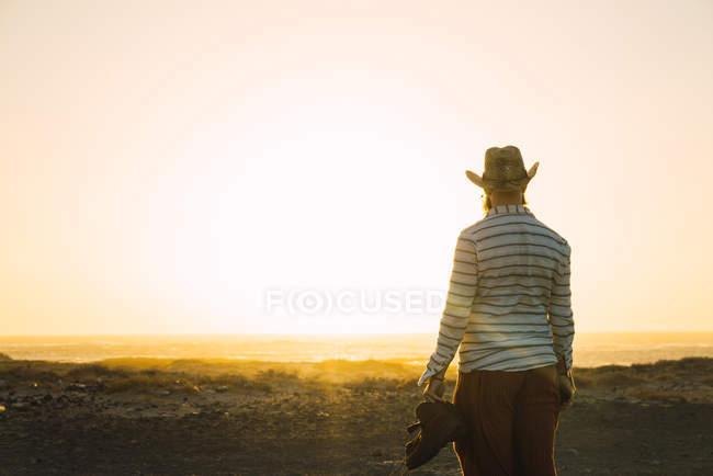 Vista trasera del hombre en sombrero con botas en la mano y de pie al atardecer playa - foto de stock