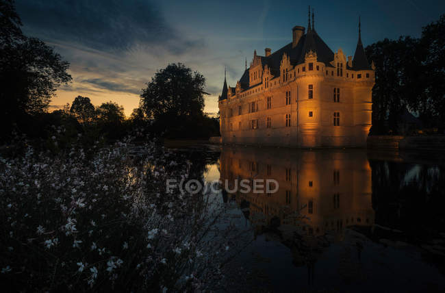 Illuminated historic castle at lake with small white flowers in evening. — Stock Photo
