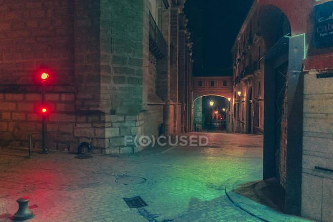 View to dark empty street at night. — Stock Photo