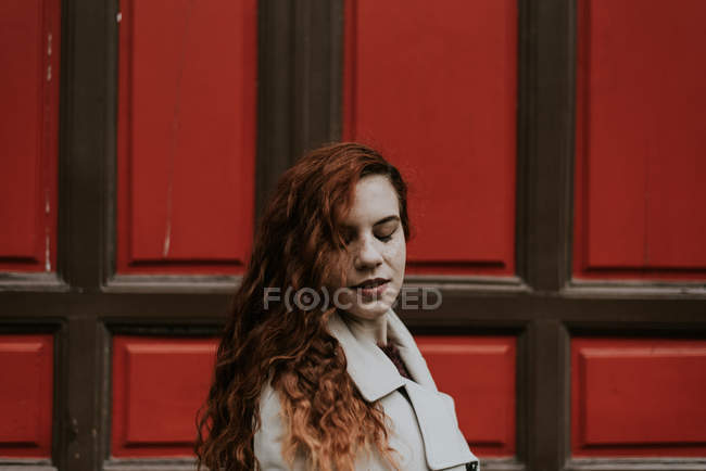 Redhead woman posing the intelligible