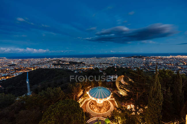 Aerial cityscape of Barcelona at dusk hour — Stock Photo