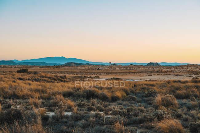 Paisagem de campo seco e colinas num dia sem nuvens. — Fotografia de Stock