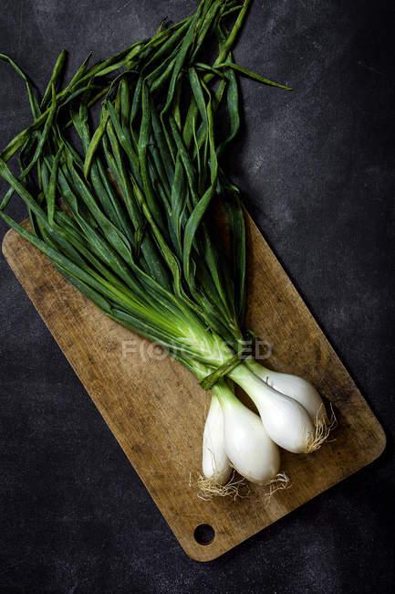 Bodegón de las cebollas frescas en tablero de madera en mesa oscura. - foto de stock