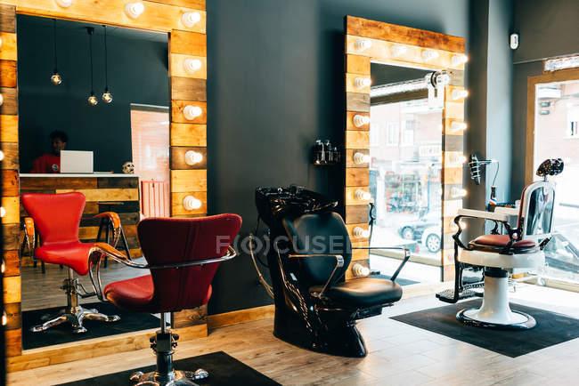 Interior view of empty barbershop — Stock Photo