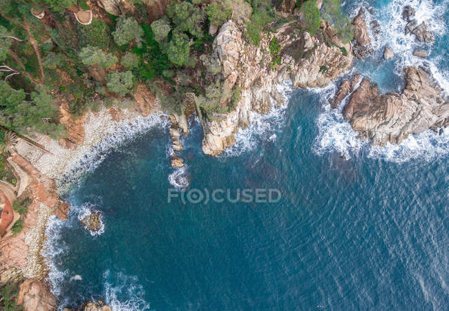 Aerial views of coastal cliffs with waves of Mediterranean Sea — Stock Photo