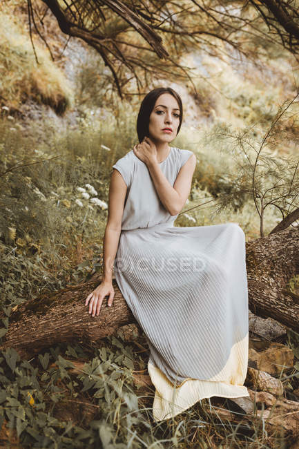 Tender brunette woman posing tree branch at nature — Stock Photo