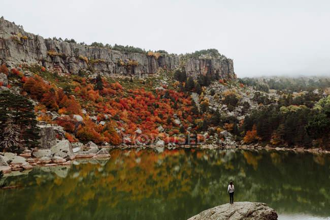 Vista posteriore del turista in piedi sulla scogliera e guardando il lago di montagna — Foto stock
