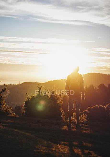 Vue arrière du touriste avec sac à dos debout dans les lumières du coucher du soleil à l'anture . — Photo de stock