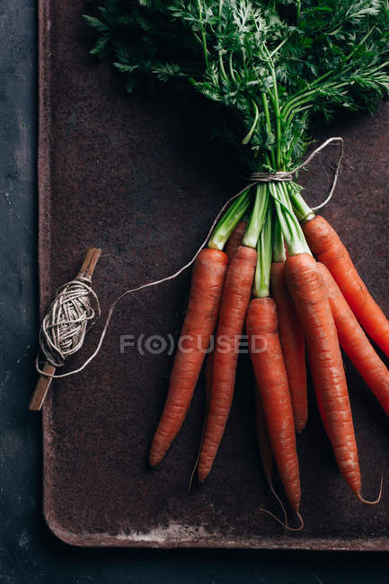 Manojo de zanahorias frescas con carrete en fondo metálico oscuro - foto de stock