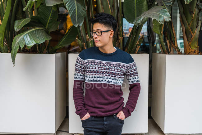 Young  Asian man in sweater and eyeglasses standing with hands in pockets on street. — Stock Photo
